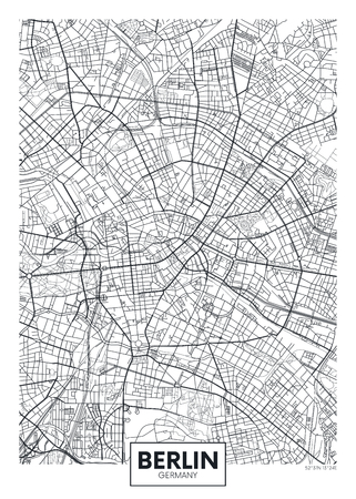 Illustration for Detailed vector poster city map Berlin - Royalty Free Image