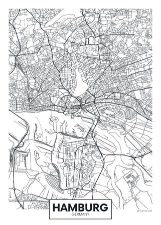 Illustration pour Detailed vector poster city map Hamburg - image libre de droit