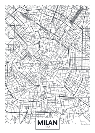 Illustration for Detailed vector poster city map Milan - Royalty Free Image