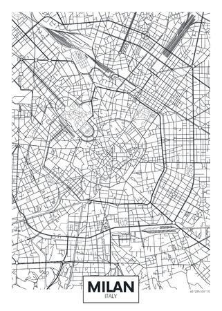 Illustration pour Detailed vector poster city map Milan - image libre de droit