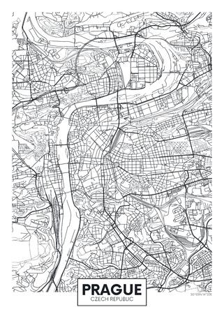Illustration pour Detailed vector poster city map Prague - image libre de droit