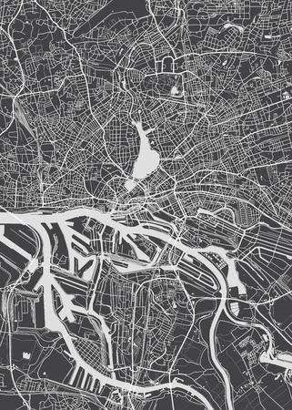 Illustration pour Hamburg city plan, detailed vector map - image libre de droit