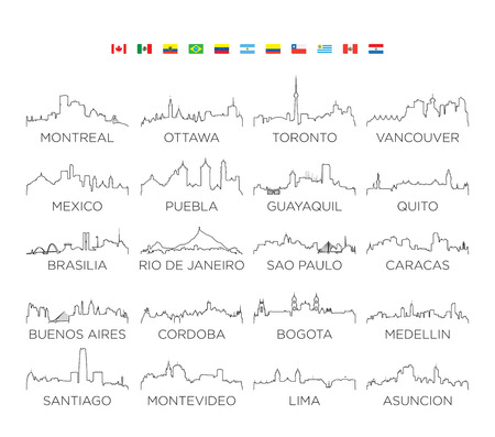 Illustration pour North and South America skyline city line art, vector Illustration design - image libre de droit
