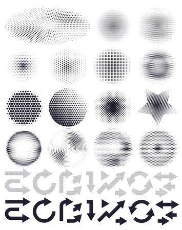 Ilustración de Set of abstract vector halftone and arrows, elements of design - Imagen libre de derechos
