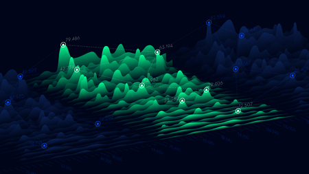 Illustration pour Vector business chart of financial statistics, big data futuristic infographics design - image libre de droit