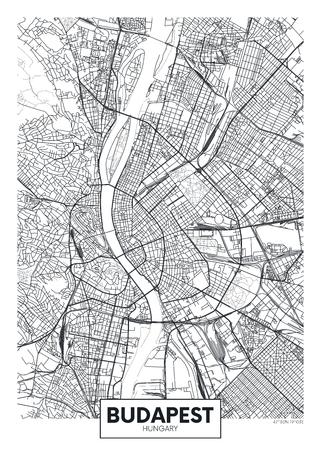 Illustration pour Detailed vector poster city map Budapest - image libre de droit