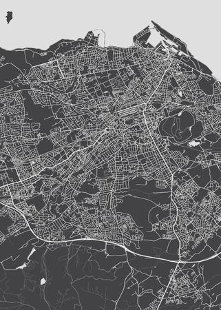 Illustration pour Monochrome detailed plan city of Edinburgh - image libre de droit