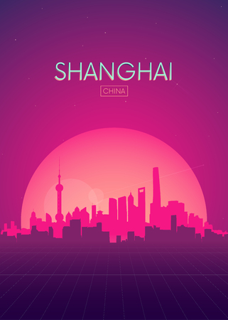 Illustration pour Travel poster vectors illustrations, Futuristic retro skyline Shanghai - image libre de droit