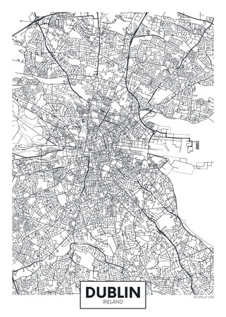 Illustration for Vector poster detailed city map Dublin - Royalty Free Image