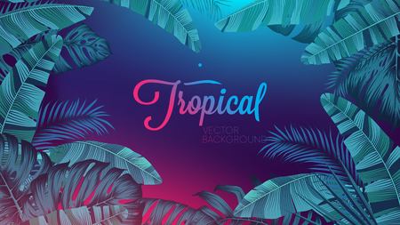 Illustration pour Red blue neon light, trendy background with tropical vector plant and leaf - image libre de droit