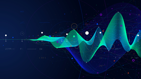 Ilustración de Big data stream futuristic infographic business analytics presentation, vector illustration - Imagen libre de derechos