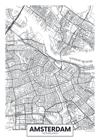 Illustration for City map Amsterdam, travel vector poster design detailed plan of the city, rivers and streets - Royalty Free Image