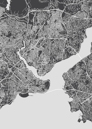 Illustration for Istanbul city plan, detailed vector map detailed plan of the city, rivers and streets - Royalty Free Image