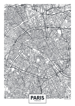 Illustration pour City map Paris, travel vector poster design - image libre de droit