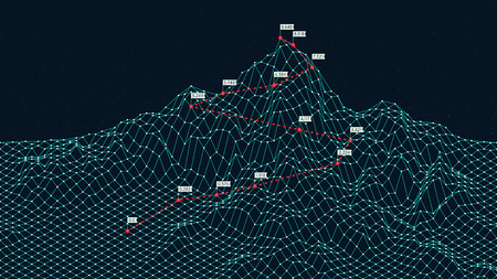 Illustration pour Cyberspace grid 3d technology wireframe landscape, Climbing route to the top mountain, Business is the way to success, creative concept for presentation - image libre de droit