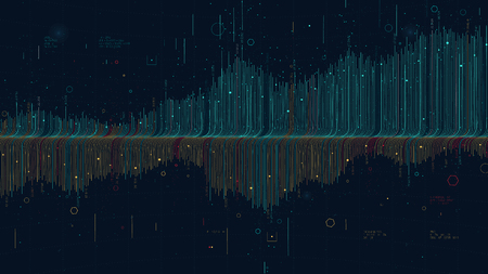 Illustration pour Futuristic infographics data thread visualization profit and loss schedule, statistic graph and finance analysis for financial presentation - image libre de droit