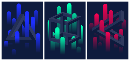 Illustration pour Impossible geometric shapes and color gradient lines, set of flyers and brochures, optical illusion vector abstract background for your design - image libre de droit