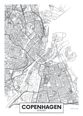 Illustration pour City map Copenhagen, travel vector poster design for interior decoration - image libre de droit