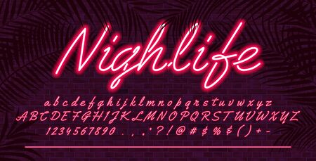Ilustración de Neon light alphabet font, Red glowing hand drawn uppercase and lowercase letters, vector typeface typography design, brick wall background with tropical leaves - Imagen libre de derechos