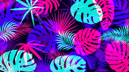 Illustration for Creative background with bright tropical leaves with an overlap effect Vector poster for your design - Royalty Free Image