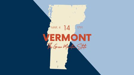 Illustration pour 14 of 50 states of the United States with a name, nickname, and date admitted to the Union, Detailed Vector Vermont Map for printing posters, postcards and t-shirts - image libre de droit