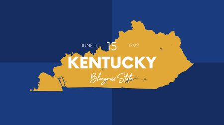 Illustration pour 15 of 50 states of the United States with a name, nickname, and date admitted to the Union, Detailed Vector Kentucky Map for printing posters, postcards and t-shirts - image libre de droit