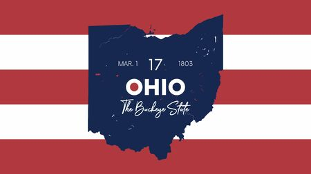Illustration pour 17 of 50 states of the United States with a name, nickname, and date admitted to the Union, Detailed Vector Ohio Map for printing posters, postcards and t-shirts - image libre de droit