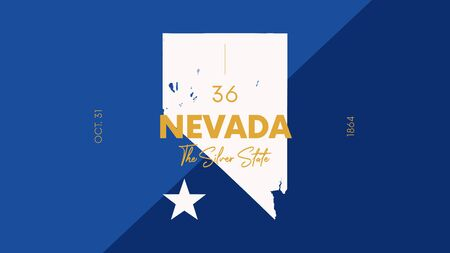 Illustration pour 36 of 50 states of the United States with a name, nickname, and date admitted to the Union, Detailed Vector Nevada Map for printing posters, postcards and t-shirts - image libre de droit