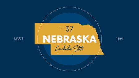 Illustration pour 37 of 50 states of the United States with a name, nickname, and date admitted to the Union, Detailed Vector Nebraska Map for printing posters, postcards and t-shirts - image libre de droit