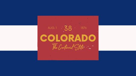 Illustration pour 38 of 50 states of the United States with a name, nickname, and date admitted to the Union, Detailed Vector Colorado Map for printing posters, postcards and t-shirts - image libre de droit