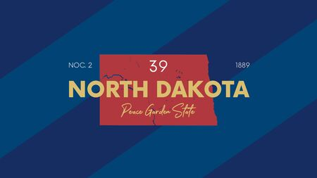 Illustration pour 39 of 50 states of the United States with a name, nickname, and date admitted to the Union, Detailed Vector North Dakota Map for printing posters, postcards and t-shirts - image libre de droit