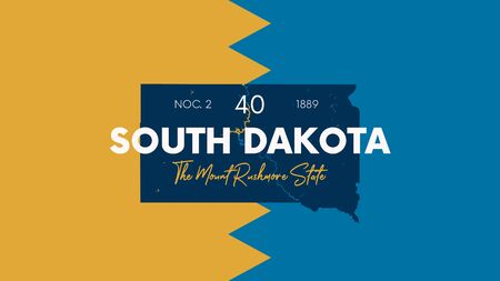 Illustration pour 40 of 50 states of the United States with a name, nickname, and date admitted to the Union, Detailed Vector South Dakota Map for printing posters, postcards and t-shirts - image libre de droit