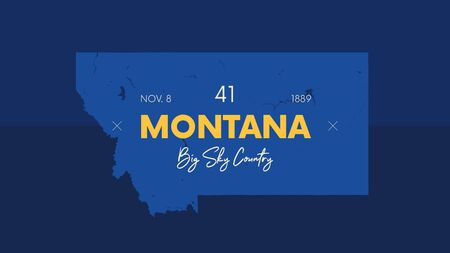 Illustration pour 41 of 50 states of the United States with a name, nickname, and date admitted to the Union, Detailed Vector Montana Map for printing posters, postcards and t-shirts - image libre de droit