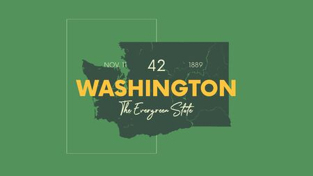 Illustration pour 42 of 50 states of the United States with a name, nickname, and date admitted to the Union, Detailed Vector Washington Map for printing posters, postcards and t-shirts - image libre de droit