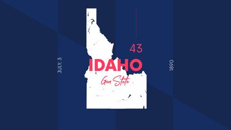 Illustration pour 43 of 50 states of the United States with a name, nickname, and date admitted to the Union, Detailed Vector Idaho Map for printing posters, postcards and t-shirts - image libre de droit