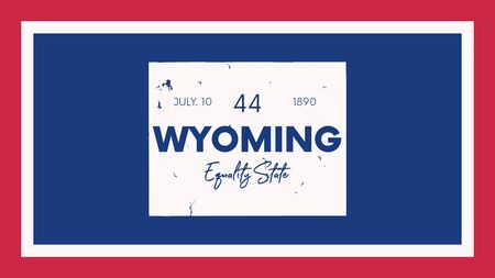 Illustration pour 44 of 50 states of the United States with a name, nickname, and date admitted to the Union, Detailed Vector Wyoming Map for printing posters, postcards and t-shirts - image libre de droit