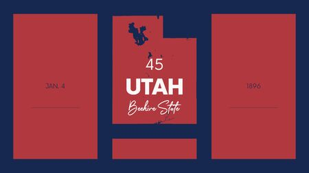 Illustration pour 45 of 50 states of the United States with a name, nickname, and date admitted to the Union, Detailed Vector Utah Map for printing posters, postcards and t-shirt - image libre de droit