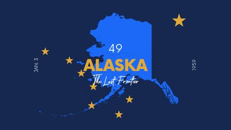 Illustration pour 49 of 50 states of the United States with a name, nickname, and date admitted to the Union, Detailed Vector Alaska Map for printing posters, postcards and t-shirts - image libre de droit