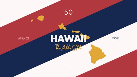 Illustration pour 50 of 50 states of the United States with a name, nickname, and date admitted to the Union, Detailed Vector Hawaii Map for printing posters, postcards and t-shirts - image libre de droit
