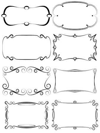 Illustration pour A set of antique decorative frames for various uses - image libre de droit