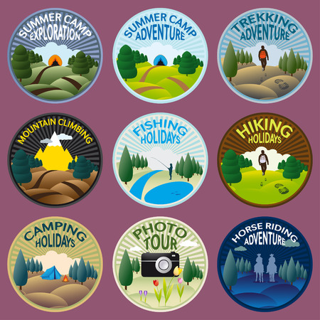 Illustration pour Round labels for camping, fishing, trekking, riding, climbing and other outdoor activities to practice in the wild nature - image libre de droit