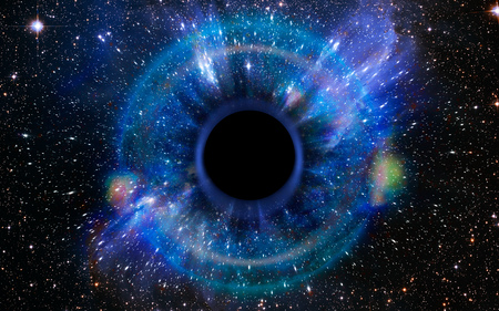 Foto de Stars are collapsing in a deep black hole, attracted by the huge gravitational field. The black hole looks like an eye or an iris in the sky. Elements of this image furnished by NASA. - Imagen libre de derechos