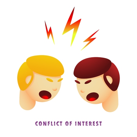 Ilustración de Conflict of interest. Vector illustration. Flat. Gradient. - Imagen libre de derechos
