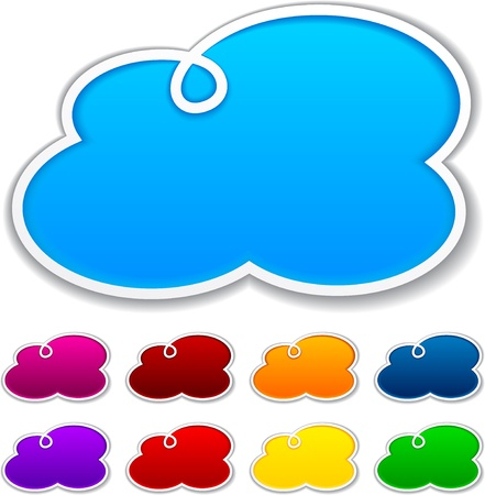 Illustration pour Vector illustration of blank notice clouds shapes for any text. - image libre de droit
