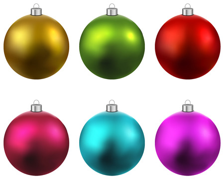 Illustration pour Colorful christmas balls. Set of isolated realistic decorations. Vector illustration.  - image libre de droit
