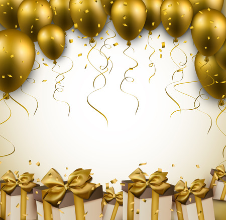 Ilustración de Celebration golden background with balloons and confetti. Vector illustration.  - Imagen libre de derechos