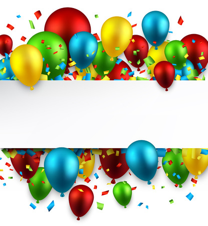 Illustration pour Celebration colorful background with balloons and confetti. Vector illustration.  - image libre de droit