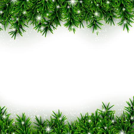 Ilustración de Christmas background with fir and stars. - Imagen libre de derechos