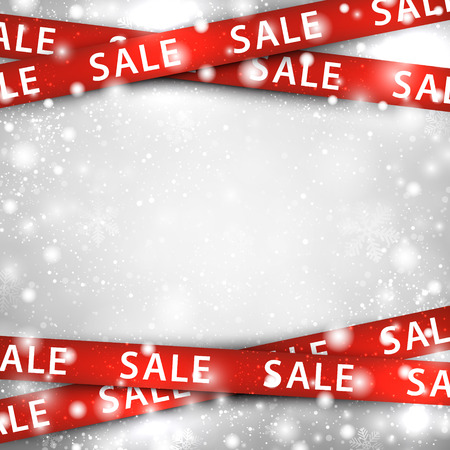 Illustration for Winter background with red sale ribbons. Christmas vector illustration.  - Royalty Free Image
