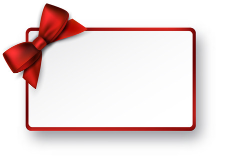 Illustration pour Christmas rectangle gift card with red satin bow. - image libre de droit
